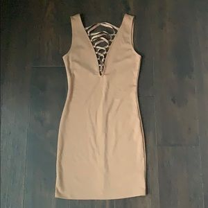 Lace up front body con dress
